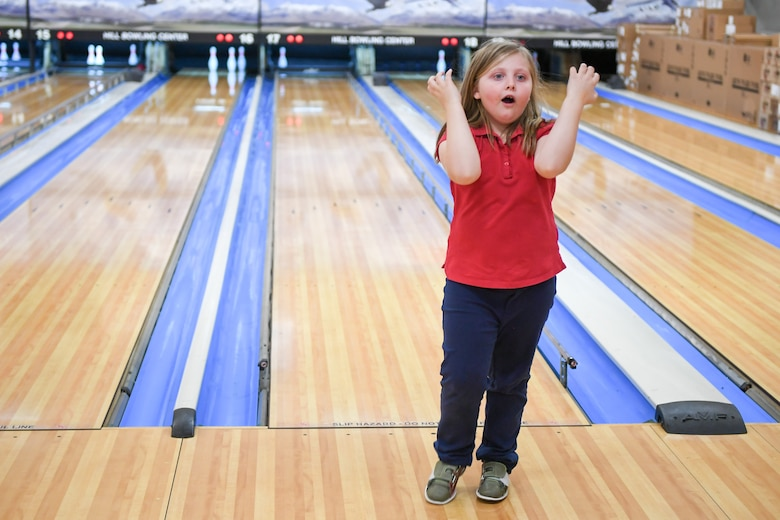 Ambria Myers during bowling Jan. 30, 2019, at the event held by Exceptional Family Member Program-Family Support at Hill Air Force Base, Utah. (U.S. Air Force photo by Cynthia Griggs)