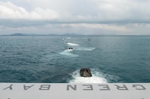 GULF OF THAILAND (Feb. 7, 2019) – Assault amphibious vehicles (AAV), assigned to the 31st Marine Expeditionary Unit (MEU), depart the well deck of the amphibious transport dock ship USS Green Bay (LPD 20) in preparation for Exercise Cobra Gold 2019. Cobra Gold is a multinational exercise co-sponsored by Thailand and the United States that is designed to advance regional security and effective response to crisis contingencies through a robust multinational force to address common goals and security commitments in the Indo-Pacific region.