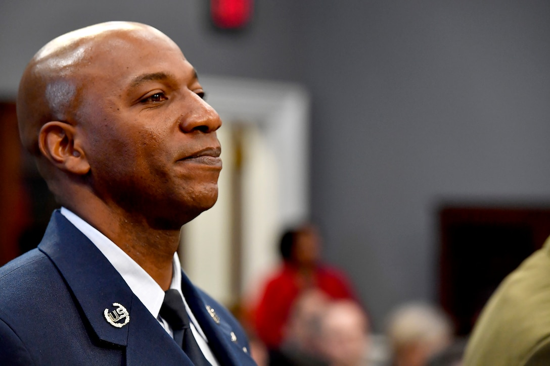 Chief Master Sgt. of the Air Force Kaleth O. Wright prepares to testify before the House Appropriations Subcommittee on Military Construction and Veterans Affairs in Washington, D.C., March 8, 2017. The CMSAF was joined by his service counterparts for the hearing. (U.S. Air Force photo by Scott M. Ash)