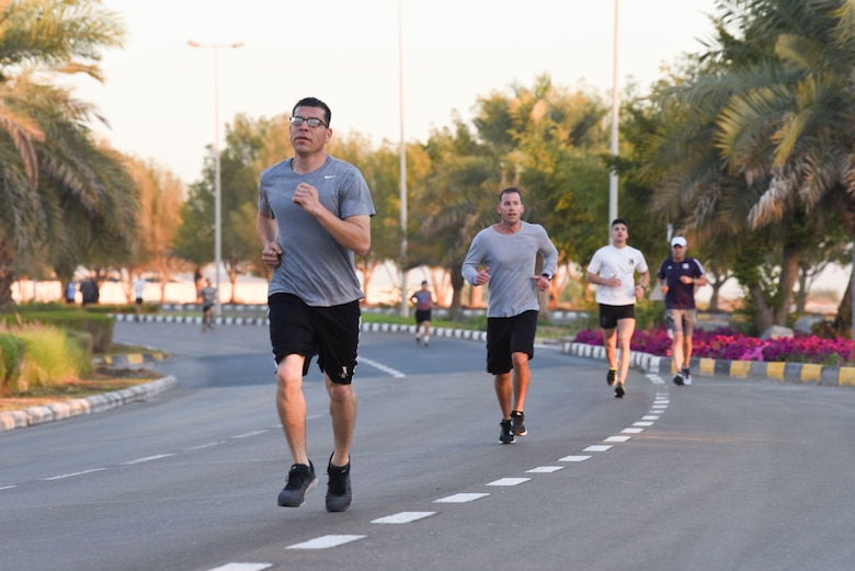 U.S., United Arab Emirates, and several coalition nations members participate in the 4K run kicking off the Friendship Games Feb. 6, 2019, at Al Dhafra Air Base, UAE.
