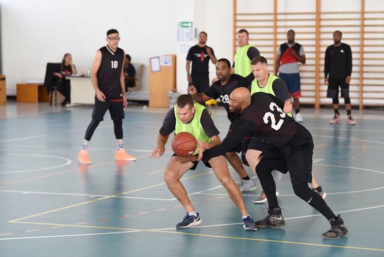 The U.S. team steals the ball during the basketball portion of the Friendship Games Feb. 6, 2019, at Al Dhafra Air Base, United Arab Emirates.