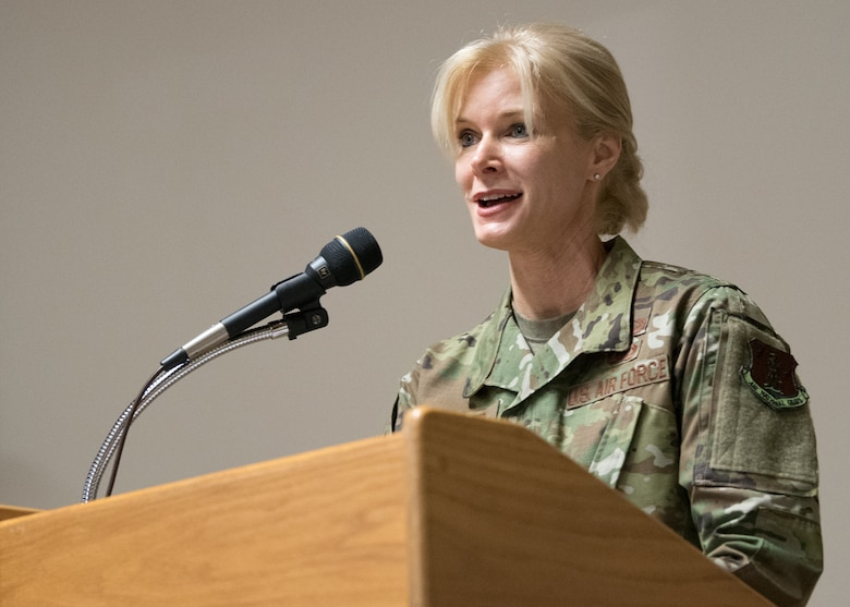Col. Mary Decker, commander of the 123rd Mission Support Group, speaks to audience members at an MSG change-of-command ceremony held at the Kentucky Air National Guard base in Louisville, Ky., Jan. 5, 2019. Decker is replacing Col. Patrick Pritchard, who has been named vice commander of the 123rd Airlift Wing. (U.S. Air National Guard photo by Master Sgt. Phil Speck)