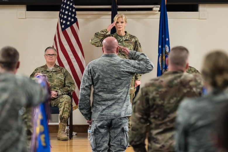 Col. Mary Decker receives her first salute as she takes command of the 123rd Mission Support Group during a ceremony at the Kentucky Air National Guard Base in Louisville, Ky., Jan. 5, 2019. Decker replaces Col. Patrick Pritchard, who has been named vice commander of the 123rd Airlift Wing. (U.S. Air National Guard photo by Dale Greer)