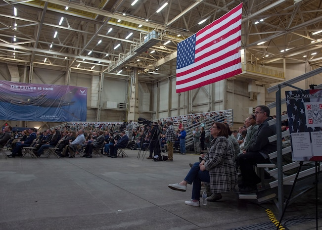 The U.S. Flag hangs from the ceiling from Hangar 517 for the KC-46A Pegasus arrival celebration, Feb. 8, 2019, at Altus Air Force Base, Okla. 56th Air Refueling Squadron aircrews delivered the first KC-46 aircraft to Altus from Seattle. (U.S. Air Force Photo by Senior Airman Jackson N. Haddon)
