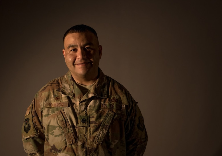 U.S. Air Force Lt. Col Jaime Ramirez, commander of the 193rd Special Operations Maintenance Squadron, Pennsylvania Air National Guard, pauses for a portrait January 13, 2019, at the 193rd Special Operations Wing in Middletown, Pennsylvania. Ramirez has served more than 25 years in the military to date. (U.S. Air National Guard photo by Staff Sgt. Rachel Loftis)