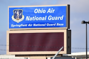 The Springfield-Beckley Air Guard Base sign is located in front of the old gate. Two of the three Air National Guard winners of the General John P. Jumper Award to Excellence in Warfighting Integration are stationed at Springfield-Beckley Air Guard Base. (U.S. Air National Guard photo by Airman 1st Class Amber Mullen)