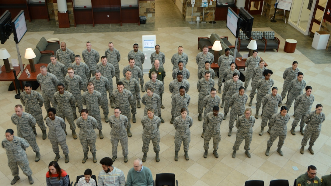 Members of the 507th Medical Squadron stand in formation during an assumption of command ceremony at Tinker Air Force Base, Oklahoma, Feb. 9, 2019. During the ceremony Lt. Col. (Dr.) Alvin Bradford accepted command of the 507th MDS from the 507th Air Refueling Wing Commander, Col. Miles Heaslip. (U.S. Air Force photo by Master Sgt. Grady Epperly)