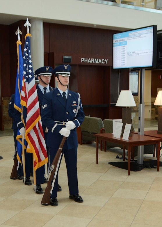 Members of the Tinker Air Force Base Honor Guard prepare to post the colors during the 507th Medical Squadron assumption of command ceremony at Tinker Air Force Base, Oklahoma, Feb. 9, 2019. During the ceremony, Lt. Col. (Dr.) Alvin Bradford accepted command of the 507th MDS from the presiding official, 507th Air Refueling Wing Commander Col. Miles Heaslip. (U.S. Air Force photo by Master Sgt. Grady Epperly)