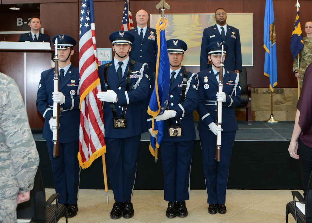 Members of the Tinker Air Force Base Honor Guard post the colors during the 507th Medical Squadron assumption of command ceremony at Tinker Air Force Base, Oklahoma, Feb. 9, 2019. During the ceremony Lt. Col. (Dr.) Alvin Bradford accepted command of the 507th MDS from the presiding official, 507th Air Refueling Wing Commander, Col. Miles Heaslip. (U.S. Air Force photo by Master Sgt. Grady Epperly)