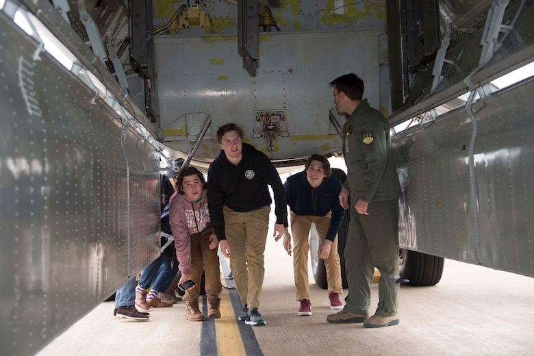 Members of the Shreveport Mudbugs hockey team tours of the inside of the B-52 Stratofortress bomb bay at Barksdale Air Force Base, Louisiana, Jan. 16, 2019. Barksdale maintains a good relationship with the local community by providing tours for different groups and organizations. (U.S. Air Force photo by Master Sgt. Ted Daigle)