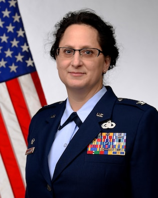 A picture of Col Diana Brown, 177th Fighter Wing Vice Commander, posing for an official photo.