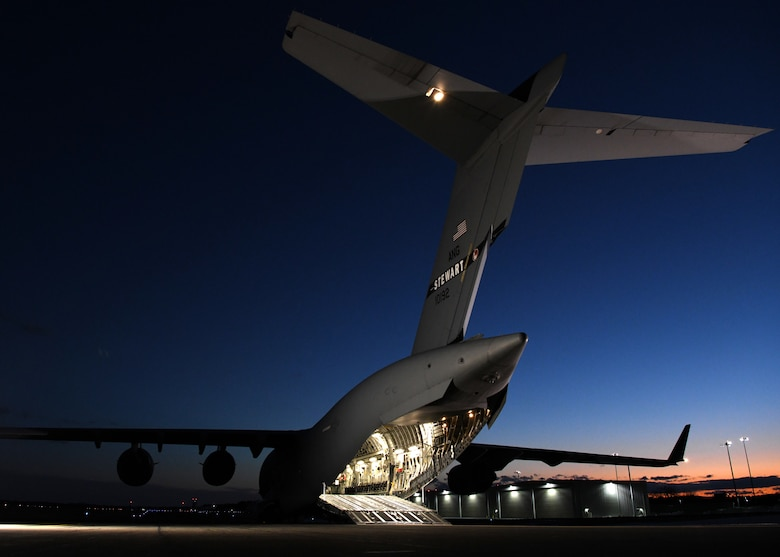 A C-17 Globemaster III from the 105th Airlift Wing in Stewart, New York supported the 104th Fighter Wing Feb. 8, 2019, at Barnes Air National Guard Base, Massachusetts. The aircraft brought 104 FW Airmen who were on a temporary duty assignment at Patrick Air Force Base in Florida back to Barnes.  (U.S. Air National Guard photos by Airman Sara Kolinski)