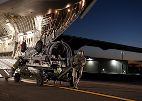 Airmen from the 104th Logistics Readiness Squadron helped unload equipment from a C-17 Globemaster III from the 105th Airlift Wing in Stewart, New York  Feb. 8, 2019, at Barnes Air National Guard Base, Massachusetts. The equipment and 104th Fighter Wing Airmen returned from a temporary duty assignment at Patrick Air Force Base, Florida.  (U.S. Air National Guard photos by Airman Sara Kolinski)