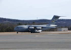 A C-17 Globemaster III from the 145th Airlift Wing  in Charlotte, North Carolina supports the 104th Fighter Wing Feb. 10, 2019, at Barnes Air national Guard Base, Massachusetts. the C-17 brought Airmen and equipment from Patrick Air Force Base, Florida back to the 104th Fighter Wing after a two week temporary dury assignment where the Airmen recieved training essential to the success of the mission.   (U.S. Air National Guard Photos by Tech. Sgt. Lindsey Sarah Watson-Kirwin)