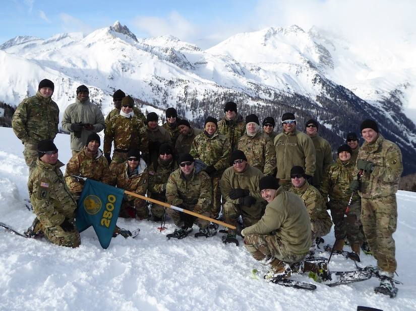 The 2500th Digital Liason Detachment poses for a group photo at Refugio peak near Wiessenbach, Italy, Jan, 12, during the unit's three-day battle assembly Jan. 11-13. The unit climbed to the peak with the 6th Alpini Regiment of the Italian army.