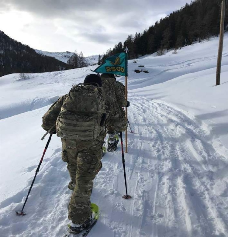 Members of the 2500th Digital Liason Detachment climb Refugio peak near Wiessenbach, Italy, Jan. 12 during the unit's three-day battle assembly, Jan 11-13. The unit climbed to the peak with the 6th Alpini Regiment of the Italian army.
