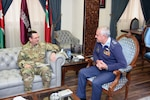 Air Force Gen. Joseph Lengyel, chief, National Guard Bureau, meets with Maj. Gen. Yousef Al-Hnaity, commander, Royal Jordanian Air Force, during a visit to the Hashemite Kingdom of Jordan, Feb. 7, 2019.