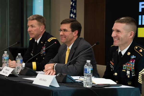 (From left) Vice Chief of Staff Gen. James C. McConville, Secretary of the Army Mark T. Esper and Sgt. Maj. of the Army Daniel A. Dailey participate in a family readiness forum hosted by the Association of the U.S. Army in Arlington, Virginia, Feb. 5.
