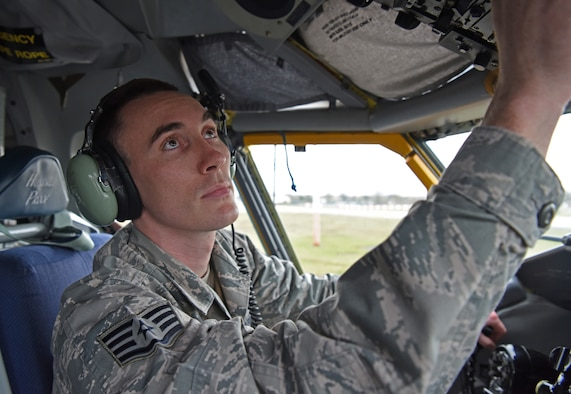 U.S. Air Force Staff Sgt. Trevor Woodruff, 100th Aircraft Maintenance Squadron flying crew chief and instrument and flight control systems craftsman, conducts routine maintenance aboard a KC-135 Stratotanker at RAF Mildenhall, England, Feb. 8, 2019. The 100th AMXS is comprised of six Air Force specialties: crew chiefs, hydraulics, electricians, propulsion, communication/navigation and instrument flight control systems Airmen. (U.S. Air Force photo by Airman 1st Class Brandon Esau)