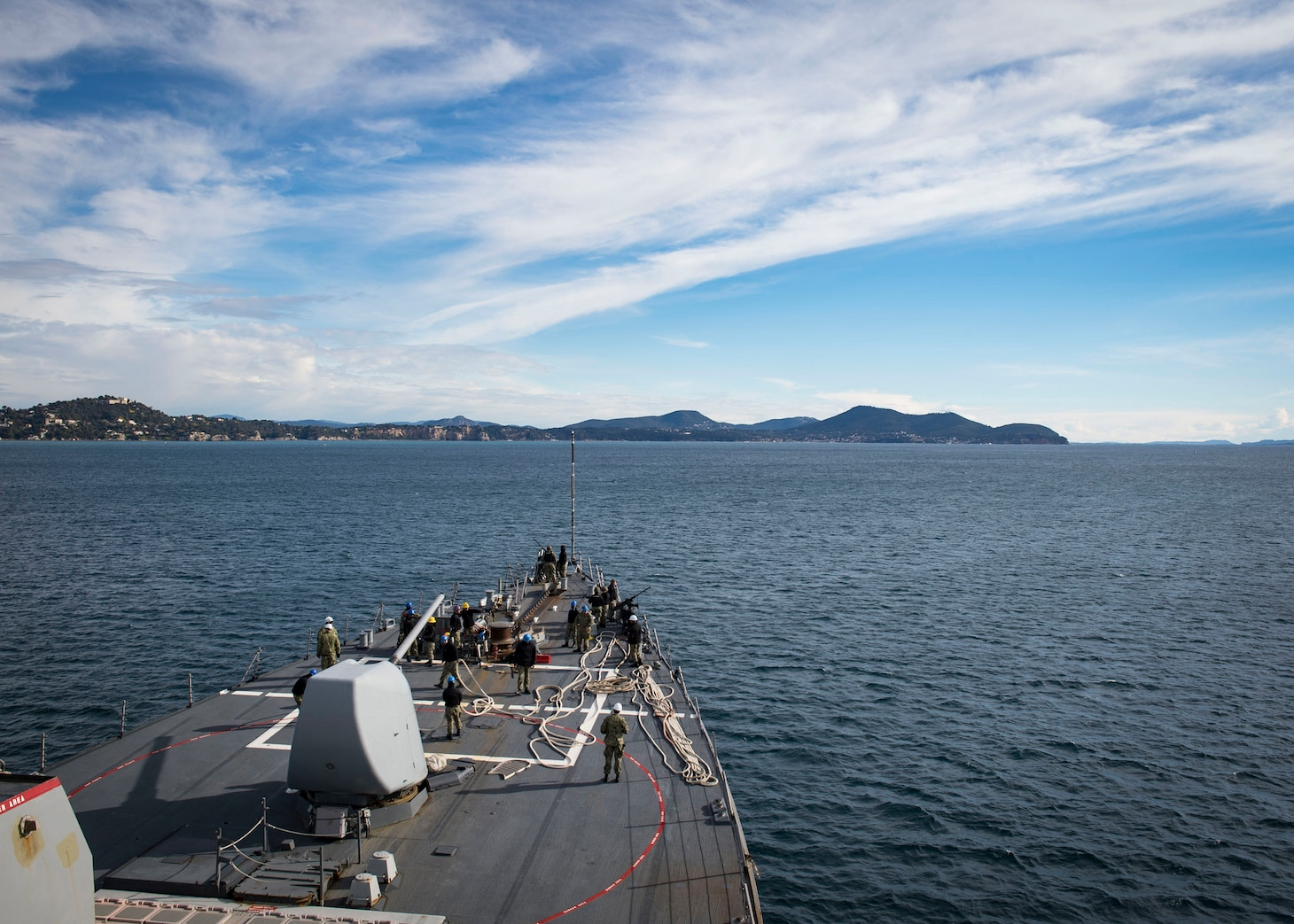The Arleigh Burke-class guided-missile destroyer USS Donald Cook (DDG 75) departs Toulon, France, Feb. 3, 2019.
