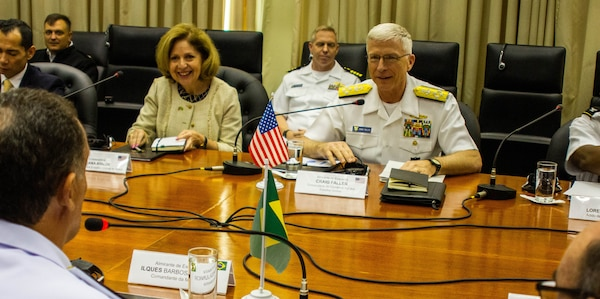 he commander of U.S. Southern Command, Navy Adm. Craig Faller, meets with Brazil's Chief of the Navy, Admiral Ilques Barbosa Júnior, in Brazil Feb. 11, 2019.
