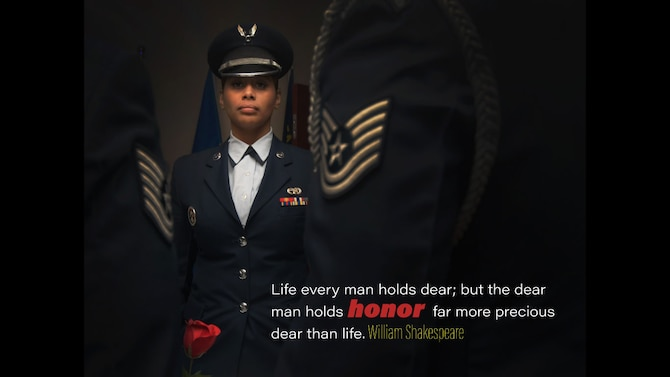 """This week's motivation is from William Shakespeare:  """"Life everyman holds dear; but the dear man holds honor far more precious dear than life.""""   (U.S. Air Force graphic/Staff Sgt. Andrew Park; photo/Staff Sgt. Miles Wilson)"""