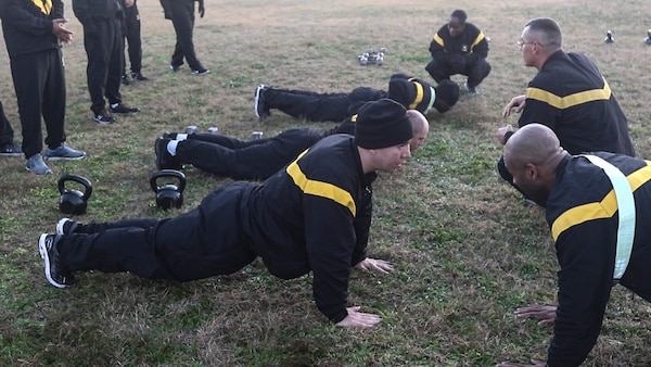U.S. Army North Soldiers work on proper techniques for the Hand-Release Push-Up during training for the Army Combat Fitness Test at Joint Base San Antonio-Fort Sam Houston Jan. 28. The ACFT is designed to provide Soldiers with a modern assessment of their physical fitness and help them maintain a high level of fitness while ensuring they are capable of handling physically demanding combat situations.
