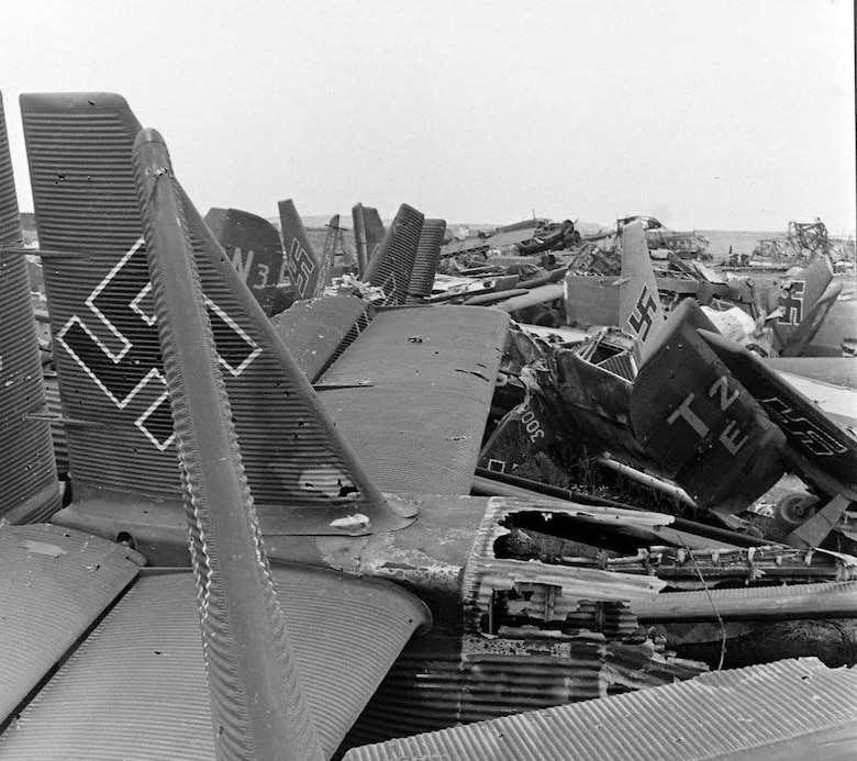Results of an Army Air Force fighter sweep on a Luftwaffe air field. Starting with 'Big Week,' American fighters, after escorting bombers to their targets in Germany, would strafe Luftwaffe airfields to catch the German fighters on the ground or on takeoff or landing. (Archive photo)