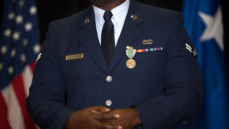 U.S. Air Force Airman 1st Class PeeJay Jack, a 290th Joint Communications Support Squadron vehicle maintainer, speaks to the audience after being presented the Airman's Medal at MacDill Air Force Base, Fla., Feb. 9, 2019. Jack was awarded the Airman's Medal for saving a motorist after his vehicle lost control, veered of the interstate and burst into flames.
