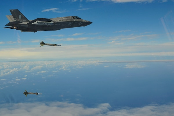 Marine F-35B Lightning II Fighters Strike with Externally-mounted Ordnance at Sea for the First Time