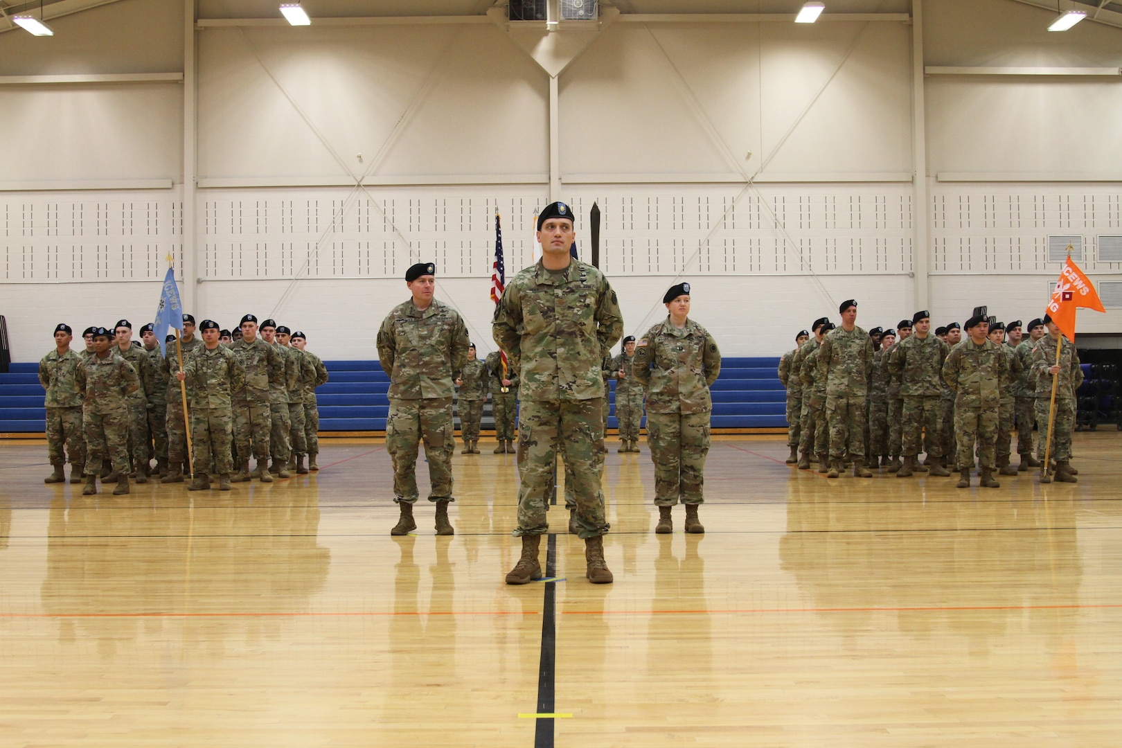 Soldiers of the newly activated Intelligence, Information, Cyber, Electronic Warfare and Space Detachment stand in formation during a ceremony Jan. 11, 2019, at Joint Base Lewis McChord, Washington. The ceremony marked the launch of the first-ever Intelligence, Information, Cyber, Electronic Warfare and Space Detachment in the U.S. Army. I2CEWS was designed to integrate cyber warfare, electronic warfare and space capabilities. 