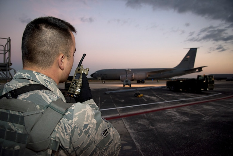 U.S. Air Force Airman 1st Class Christian Dufresne, an entry controller assigned to the 6th Security Forces Squadron (SFS), provides security for the flightline at MacDill Air Force Base, Fla., Feb. 9, 2019. Dufresne secured the flightline's resources with a team of 6th SFS Airmen during a three-day readiness exercise.