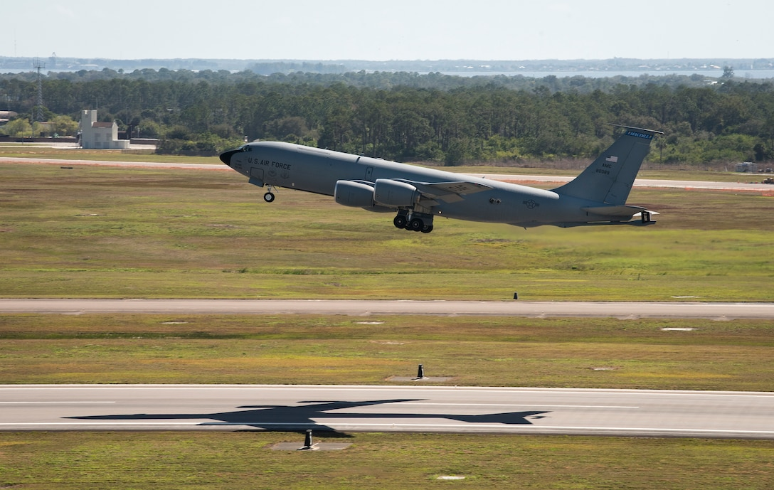 A KC-135 Stratotanker aircraft takes off from the MacDill Air Base, Fla., runway during a readiness exercise Feb. 10, 2019. Total force Airmen from the 6th Air Mobility Wing and 927th Air Refueling Wing participated in the three-day exercise emphasizing the importance of contingency operations training.