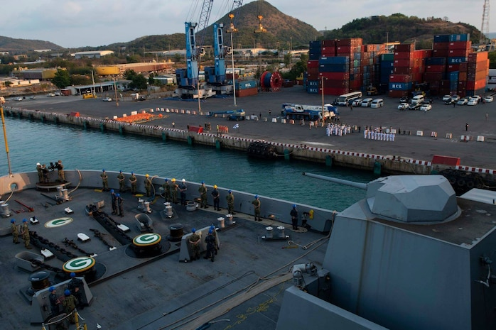 The amphibious transport dock ship USS Green Bay (LPD 20) arrives in Sattahip, Thailand