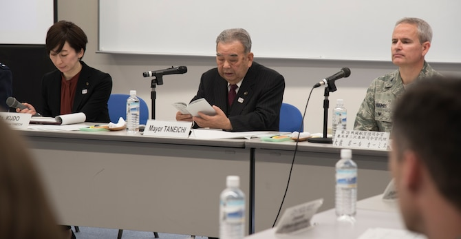 Misawa City Mayor Kazumasa Taneichi, reviews plans for the Misawa Kids Center during the Community Relations Advisory Council meeting at the Misawa International Center, Japan, Feb. 5, 2019. The Misawa Kids Center, opening in April 2019, will help Misawa Air Base and Misawa City kids connect with each other. (U.S. Air Force photo by Branden Yamada)