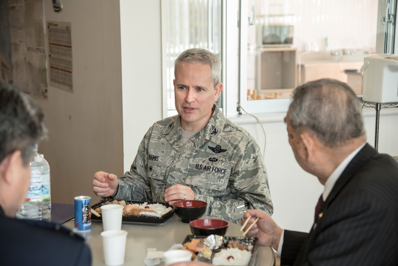U.S. Air Force Col. Paul Kirmis, the 35th Fighter Wing vice commander, speaks with Japanese leaders during lunch after the annual Community Relations Advisory Council meeting at Misawa Air Base, Japan, Feb. 5, 2019.  The meeting discussed programs such as the English Camp and Misawa Kids Center that improve the community and bilateral relations by bringing Japanese and Americans together. (U.S. Air Force photo by Branden Yamada)