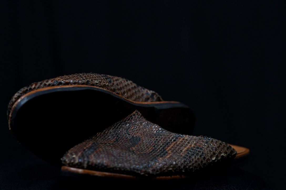 Snakeskin shoes belonging to U.S. Air Force Tech. Sgt. Francis Strother, recruiter for the 145th Airlift Wing, sit on display at the North Carolina Air National Guard (NCANG) Base, Charlotte Douglas International Airport, Jan. 17, 2019. Strother tells a story of how he came from Monrovia, Liberia following a civil war in his country that lasted almost eight years. At times, Strother walked barefoot 10 miles to get to school and other times he wore shoes like the ones on display.