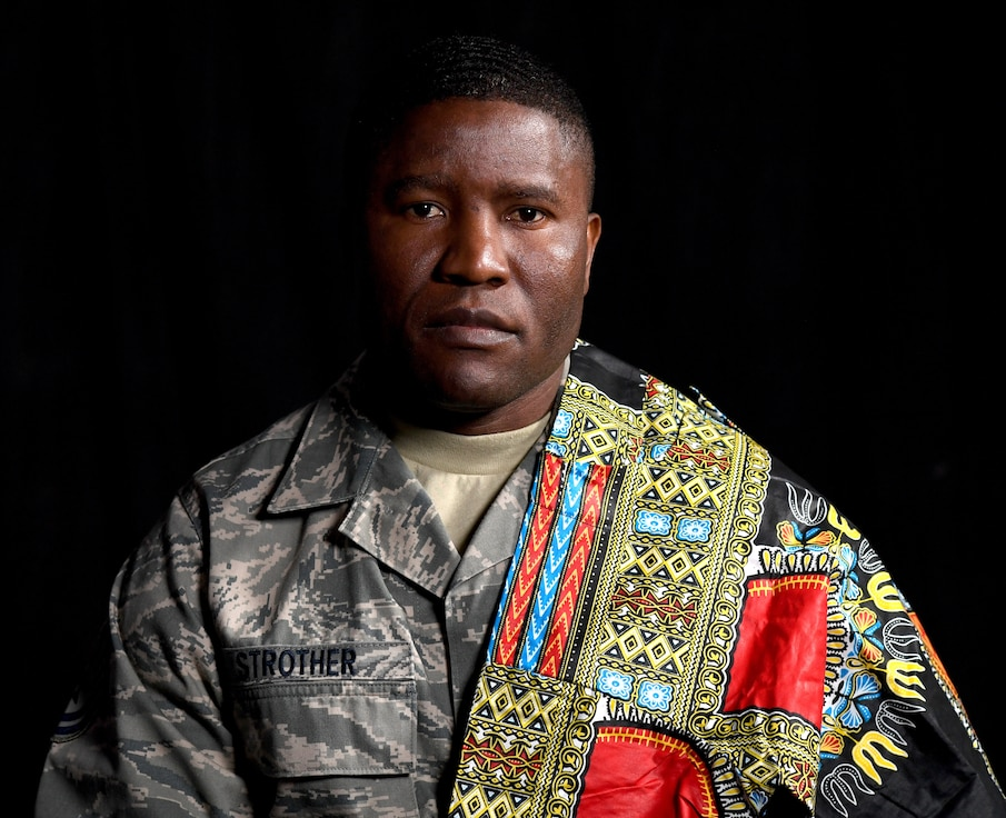 U.S. Air Force Tech. Sgt. Francis Strother, recruiter for the 145th Airlift Wing, poses candidly at the North Carolina Air National Guard (NCANG) Base, Charlotte Douglas International Airport, Jan. 17, 2019. Strother tells a story of how he came from Monrovia, Liberia following a civil war in his country that lasted almost eight years. Strother details his struggles of helping raise his brothers and feed his neighbors while maintaining a positive and hopeful attitude.