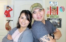 """Staff Sgt. Archie Masibay poses for a photo with his wife, Flor. Serving as a recruiter in Brentwood, Calif., Masibay, also known as ARCHIEzzle, highlights Army topics that inform, entertain, and motivate others. And while """"Archiezzle"""" is just an online persona, Masibay interacts with his YouTube and other social media community to answer questions potential recruits may have before joining the Army."""
