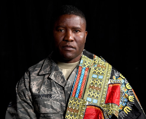 U.S. Air Force Tech. Sgt. Francis Strother, recruiter for the 145th Airlift Wing, poses at the North Carolina Air National Guard (NCANG) Base, Charlotte Douglas International Airport, Jan. 17, 2019. Strother tells a story of how he came from Monrovia, Liberia, following a civil war in his country that lasted almost eight years. Strother details his struggles of helping raise his brothers and feed his neighbors while maintaining a positive and hopeful attitude.