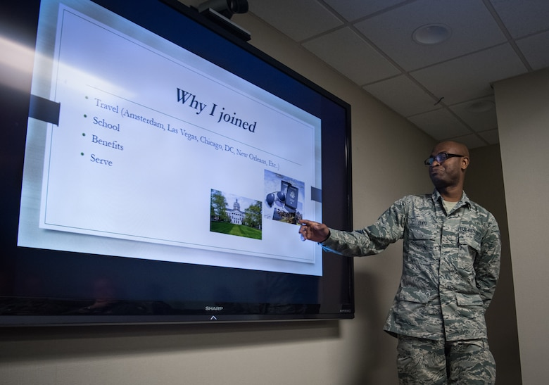 Airman First Class Nestor Biayi, 932nd Force Support Squadron personalist, shares his Airman's story with 932nd Airlift Wing leadership during the pre-Unit Training Assembly meeting Feb. 8, 2019, Scott Air Force Base, Illinois. Biayi shared some important goals, focusing on travel, educational opportunities but importantly finding his role in life and within the  Air Force Reserve as a citizen Airman.  (U.S. Air Force photo by Christopher Parr)