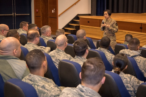 Command Chief Master Sergeant, Air Force Reserve Command, Chief Master Sgt. Ericka E. Kelly, speaks with Reserve Citizen Airmen from the 514th Air Mobility Wing during a visit here, Feb. 8-9.