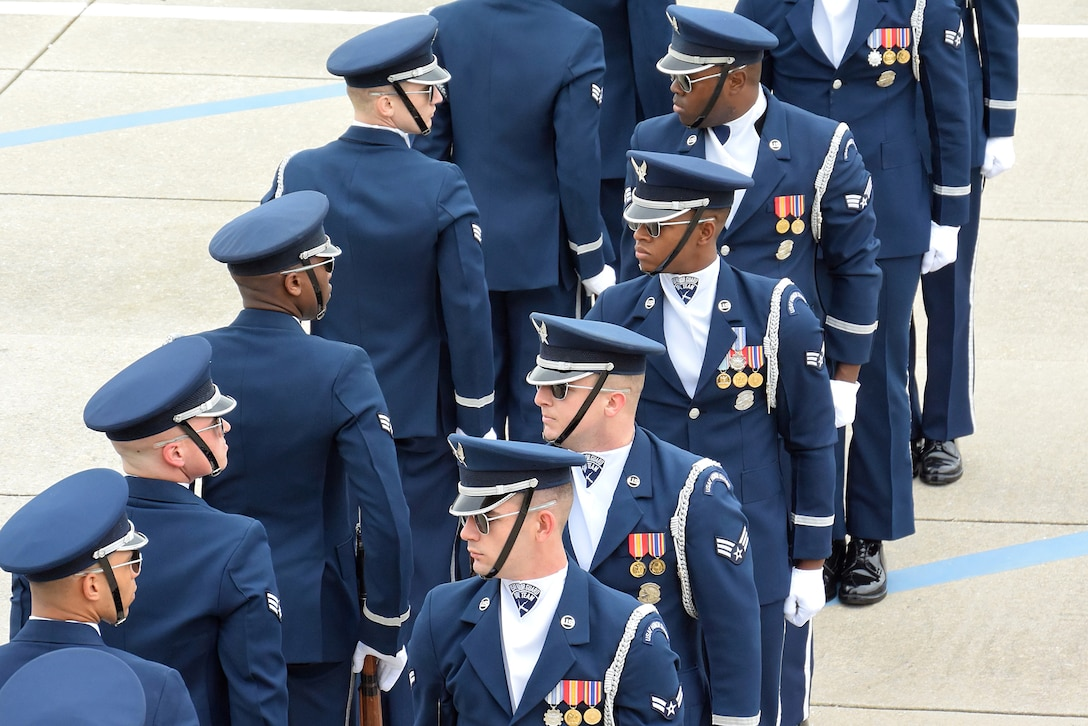 The U.S. Air Force Honor Guard Drill Team debuts their 2019 routine in front of Keesler leadership and 81st Training Group Airmen on the Levitow Training Support Facility drill pad at Keesler Air Force Base, Mississippi, Feb. 8, 2019. They are the nation's most elite honor guard, serving the President of the United States, the Air Force's most senior leaders and performing nationwide for the American public. The team comes to Keesler every year for five weeks to develop a new routine that they will use throughout the year. (U.S. Air Force photo by 2nd Lt. Jantzen Floate)