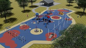 The Freedom Park playground will be built into two separate sections. One section will be for a 2-5-year-old area and the other section is a 5-12-year-old area, with equipment varying based on age range. (U.S. Air Force graphic)