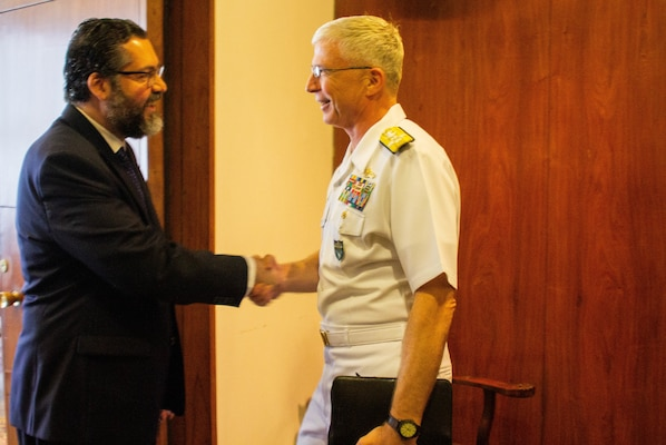 The commander of U.S. Southern Command, Navy Adm. Craig Faller, meets with Brazil's Minister of Foreign Affairs Ernesto Araúj and U.S. Chargé d'Affaires William Popp in Brazil Feb. 11, 2019.