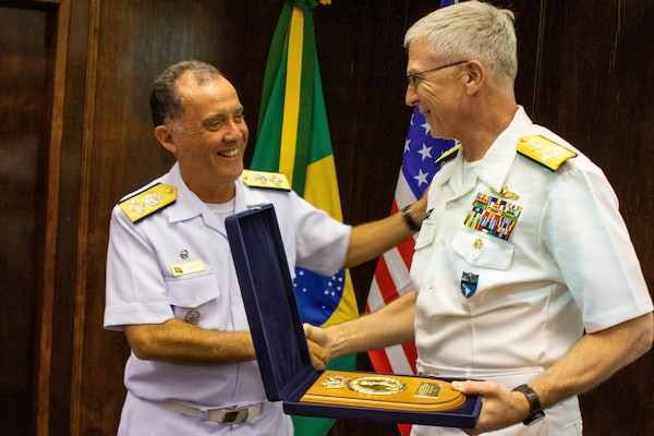 The commander of U.S. Southern Command, Navy Adm. Craig Faller, meets with Brazil's Chief of the Navy, Admiral Ilques Barbosa Júnior, in Brazil Feb. 11, 2019.