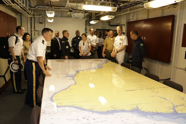 The commander of U.S. Southern Command, Navy Adm. Craig Faller, visits the Brazilian Navy helicopter carrier Atlântico (A 140)
