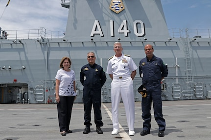 The commander of U.S. Southern Command, Navy Adm. Craig Faller, visits the Brazilian Navy helicopter carrier Atlântico (A 140).