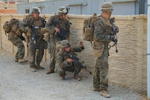 U.S. Marines with 1st Tank Battalion, patrol during the 1st Marine Division (MARDIV) Super Squad Competition at Marine Corps Base Camp Pendleton, California, Aug. 29, 2018.