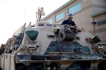 U.S. Marine Corps Pfc. Edgar Maldonado Jr., a main battle tank technician with 1st Tank Battalion, 1st Marine Division, stages a M88A2 Hercules recovery vehicle in preparation for exercise Comanche Run at Marine Corps Air Ground Combat Center, Twentynine Palms, California, Jan. 28, 2019.